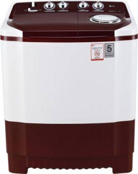 LG 7 kg Semi Automatic Top Load Maroon, White